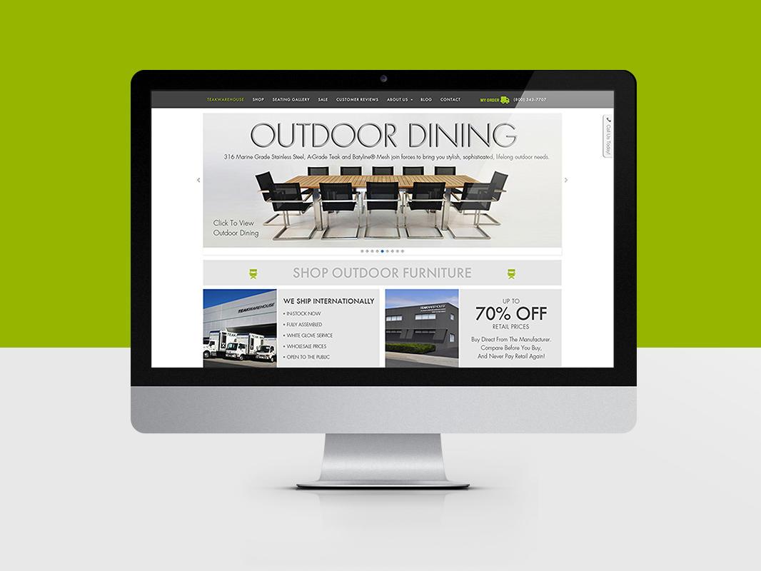 Teak Warehouse Website Design