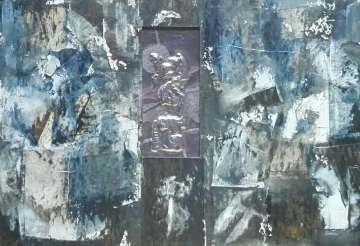 15 Mieszana Blacha,akryl,karton. '' Ludzie pęknięci-znieczulica'' 20,5cm x 29,5cm. 2016