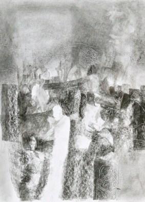 3 Rys.pastel, relief,karton.'' Szanujmy co umiera'' 27 cm x 21 cm. 2011