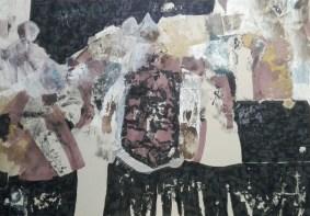 9 Mieszana,akryl,rysunek,karton.'' Para obcych w sobie'' 49cm x 70cm. 2014