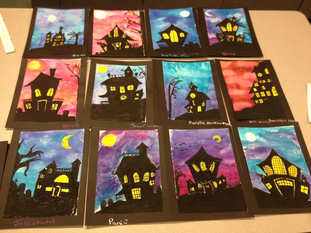 Spooky House Halloween Art Lesson
