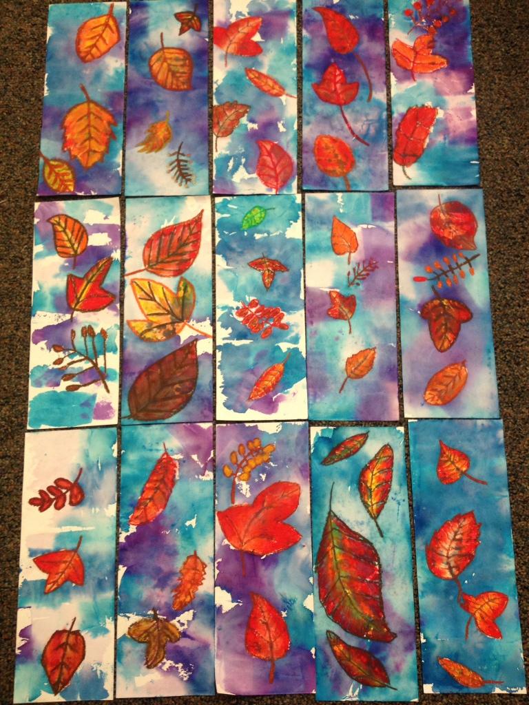 6th Grade Wax Resist Fall Leaves