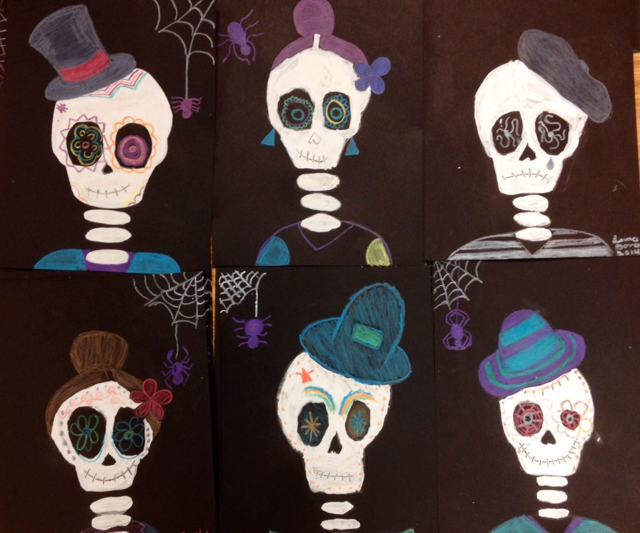 Halloween Art Painted Skeletons
