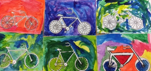 STEAM Art Project-Middle School Bicycle Paintings