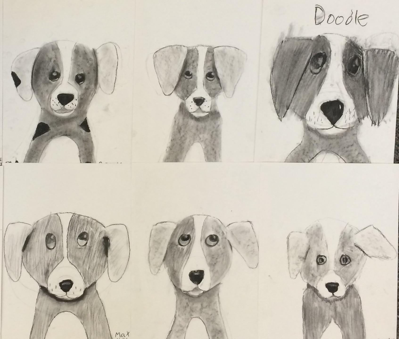 Charcoal Drawing- 5th Grade Puppies