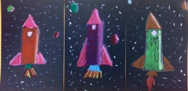 Oil Pastel Rockets