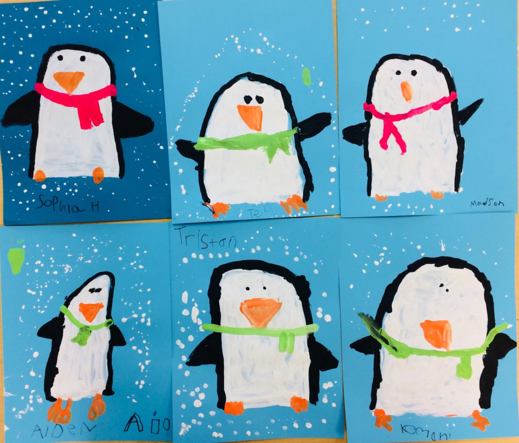 Painted Penguins Winter Art Lesson