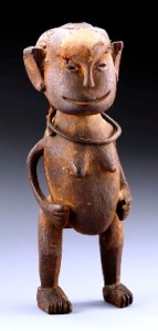 Shambaa, Tanzania, Figure, n.d., wood, hide, 8.9 inches high, Private Collection, Belgium.