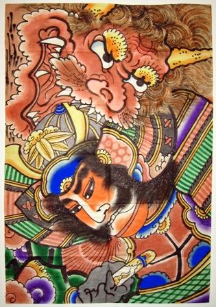 Tsugaru-style kite painting depicting Raiko, Hirosaki, Aomori Prefecture, Tōhoku Region, Japan, 1960s.