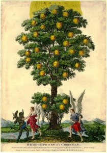 """""""Hieroglyphics of a Christian"""" by J. Bakewell.  The allegory from Psalms I v.3, of the straight tree of Faith, Hope and Love growing fruits of good, watered by an angel while another fights off Satan. 1790s Engraving with hand-coloring. © The Trustees of the British Museum."""