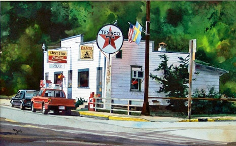 """Short Stop Café"", watercolor by Fred Dingler."