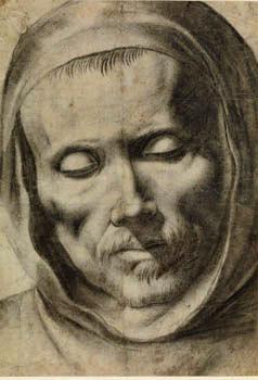 """""""Head of a monk"""", 1625-64 by Francisco de Zurbarán (1598-1664), drawing, 277 x 196 mm."""