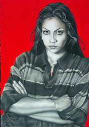 """La Gabby in Red"", 2012 by Gaspar Enriquez (American b.1942-, acrylic on board, 41 x 29 inches, collection of Larry Mendez."
