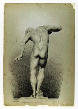 Nude Study by Daniel Huntington (1816 -1906), black and white chalk and black crayon on green wove paper, 21 3/4 x 15 1/8 inches, circa 1848.