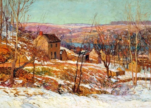 """Winter in the Valley"" by Edward Willis Redfield, (American, 1869-1965), oil on canvas, 51 x 66 inches, Reading Public Museum."
