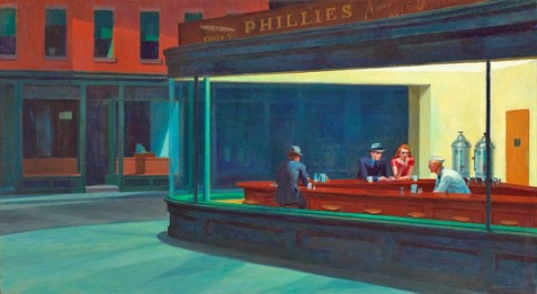 """Nighthawks"", 1942, oil on canvas, 33 1/8 x 60 in., by Edward Hopper. Art Institute of Chicago, Chicago, Illinois."