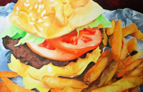 """$7.50 Hamburger and Fries,"" oil by Siobhan Irvin of Warhill High School."