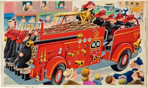 Tibor Gergely, illustration for The Great Big Fire Engine Book (1950). Random House, Inc. Gouache and watercolor.