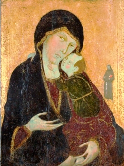 """Madonna and Child with Saint Francis"", ca. 1285. Tempera on wood, 27 x 20 1/4 in. Allen Memorial Art Museum, Oberlin College, R.T. Miller Jr. Fund."