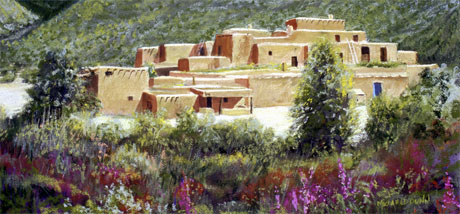 Taos Pueblo, pastel, 18 x 33 inches by Michael Dunn.