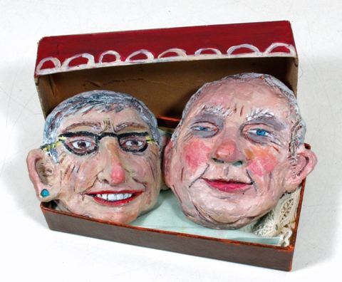 """Married Couple in a Box"", mixed media and clay, 1-1/2 x 6-1/2 x 1-1/2"" (closed), by Marjorie Bender, 2012."