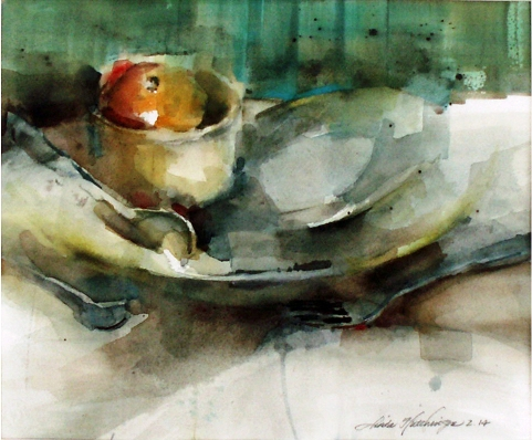 """Sinkside"", watercolor, 10.5"" x 13"" by Linda Hutchinson. OWS/Ron Rollins Memorial Award."