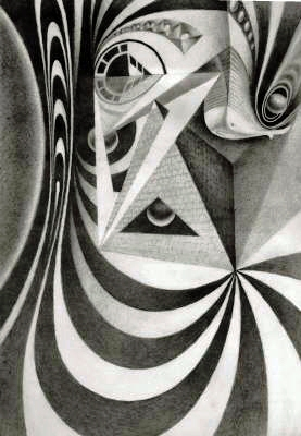 """""""A Fold in Time"""" by John Rausch. Pencil drawing taken from a sketchbook study done from his impressions of Spanish graffiti seen in Madrid and Barcelona."""