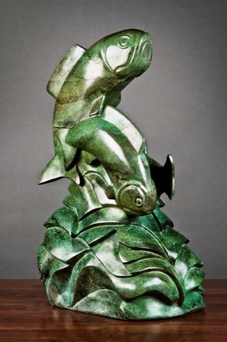 """On The Run"", bronze, 32""x15""x27"", by Mark Yale Harris."