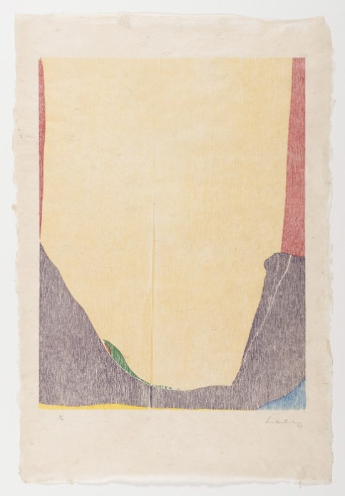 """East and Beyond"", 1973, by Helen Frankenthaler (American, 1928 – 2011); color woodcut on paper; Des Moines Art Center Permanent Collections; © 2015 Helen Frankenthaler Foundation, Inc. / Artists Rights Society (ARS), New York Universal Limited Art Editions; Photo by Rich Sanders, Des Moines."