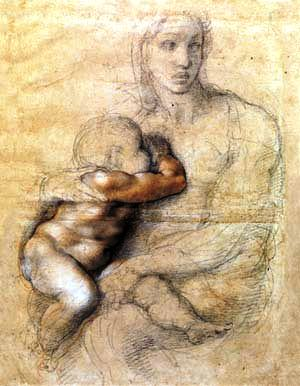 Michelangelo Buonarroti. Madonna and Child, ca. 1524. Black chalk, red chalk, red wash, white heightening and ink. 541 x 396 mm. Casa Buonarroti, Florence, inv. 71F.