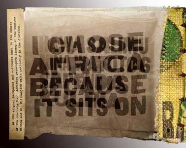 """Katika Afrika"" (In Africa), 2012–13. Digital printing, wood type, letterpress, found woodland debris. 7 x 8 in. closed; 7 x 19 in. open, by Cynthia Marsh. Courtesy of the artist. © Cynthia Marsh."