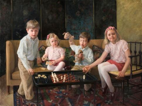 Four-Way Strategy-Caroline, James, George, Elizabeth , oil on linen, 48 x 64 inches, Alexandra Tygn.