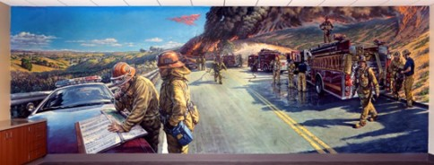 "Los Angeles County Fire Dept. Mural. ""Fire Break"" 10 ft high x 35 ft long. Fire Station 150, Santa Clarita, California. 2012 ©"