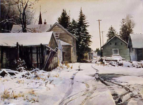 """""""Sunday Morning Snow"""", watercolor,  18 x 24 inches ,Stan Miller."""