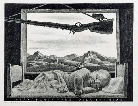 "Scratched into the lithographic stone, the words of a children's game—""HEAVY HEAVY HANGS OVER THY HEAD""—prophesies doom as a mouse gnaws a cord attached to a rifle suspended from a nail over a sleeping baby. Rockwell Kent created this print in 1946, but in our present age of Columbine, Sandy Hook, and heartbreakingly far too many other gun massacres to name, this shocking image speaks to us forcefully."