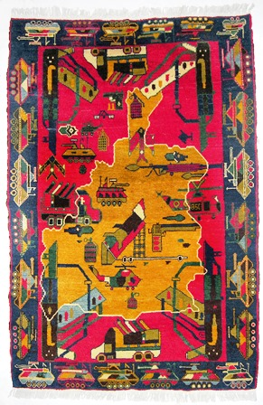 Afghanistan, War Rug with Map of Afghanistan. Knotted wool.