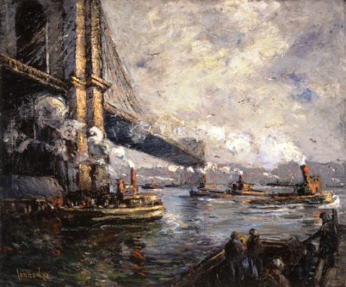 """Jonas Lie (American, b. Norway, 1880–1940), """"Bridge and Tugs,"""" 1911–15. Oil on canvas, 34½ x 41½ inches. Georgia Museum of Art, University of Georgia; Museum purchase with funds provided by C. L. Morehead Jr., GMOA 2001.179."""