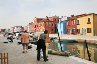 Painters hard at work in Burano