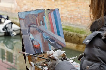 Painting the canals.