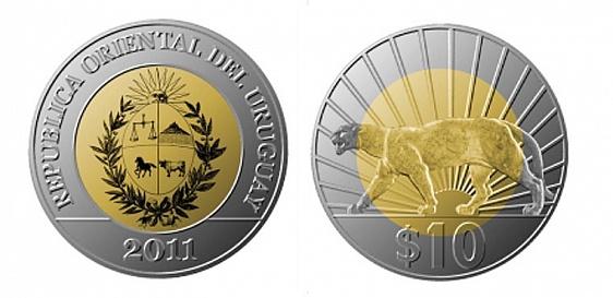"""Уругвай, 10 песо из латуни, с изображением пумы и рассвета. Один из финалистов среди """"торговых"""" монет"""