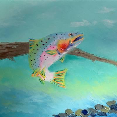 """Platte River Rainbow. Oil. 11""""X14"""" Original Available for Sale."""