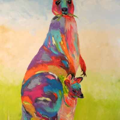 "Momma Roo. Oil. 36""X24"" Original SOLD"