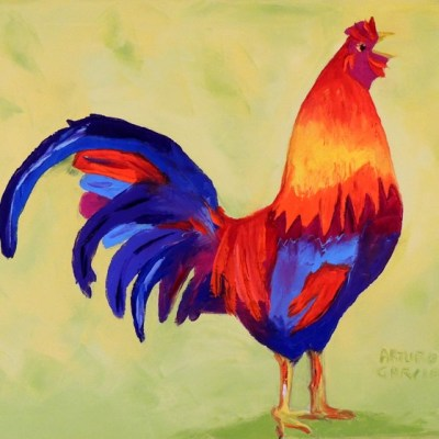 "El gallito. Oil. 16""X20"". Available."