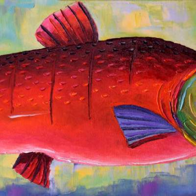"Sockeye. Oil. 12""X36"". Original Available."