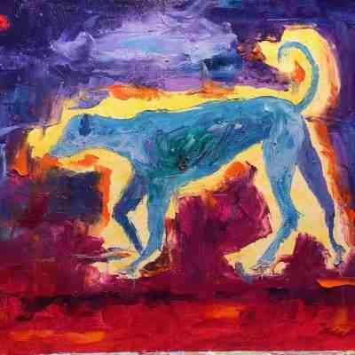 "Perro Azul. Oil. 16""X20"" Original Available for Sale."