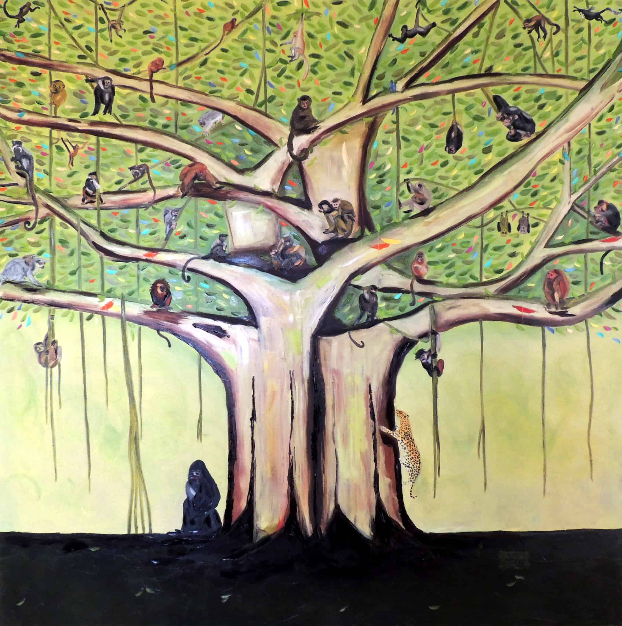 """Family Tree. Oil. 48""""X48"""". Available."""