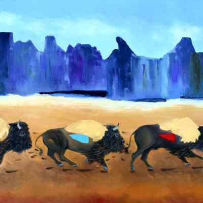 """Home on the Range. Oil. 24""""X48"""" Not Available for Sale."""