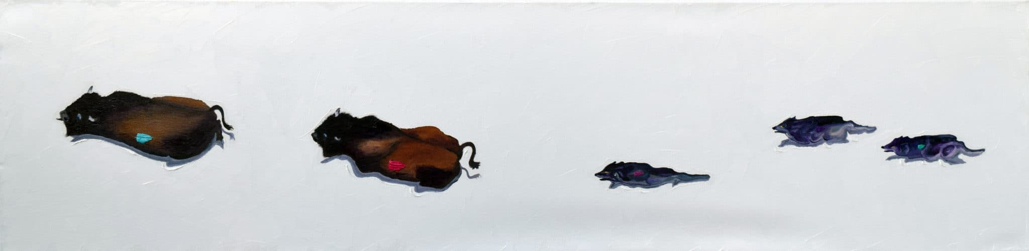 """The Chase. Oil. 12""""X48"""". Original Available."""