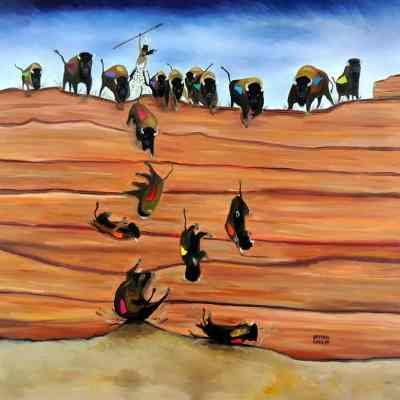 "Pishkun (Buffalo Jump). Oil. 36""X36"". Not Available for Sale."