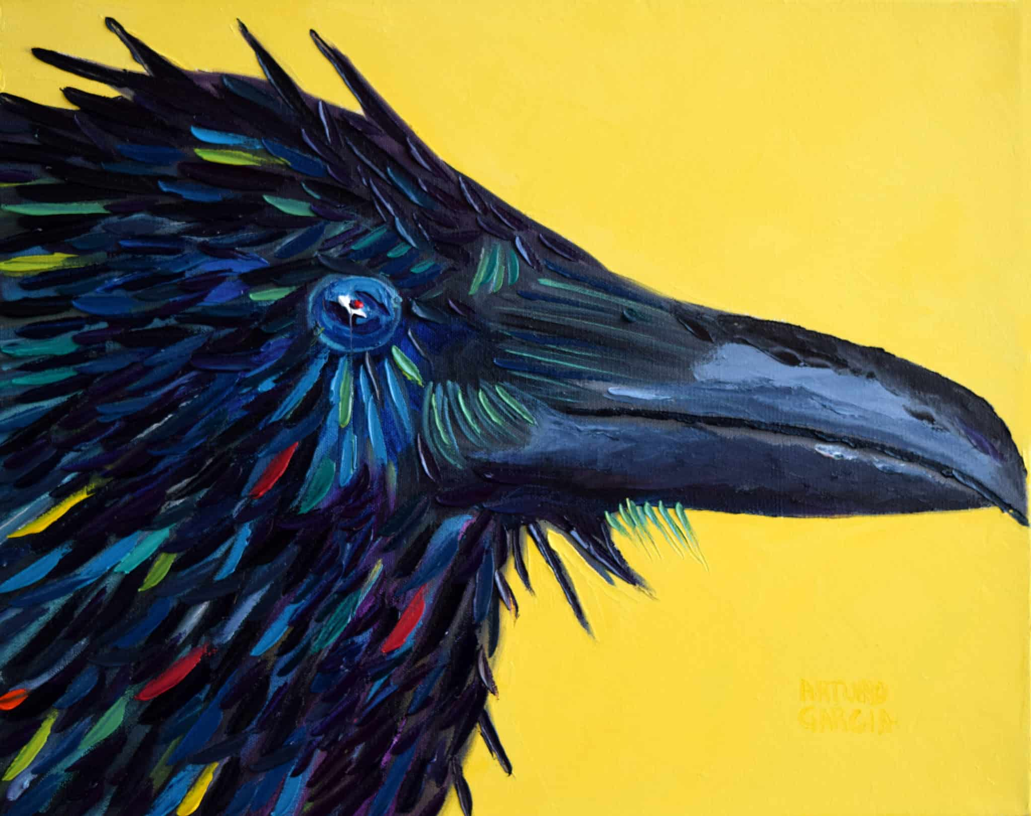 "Wet Crow. Oil. 16""X20"". Available."